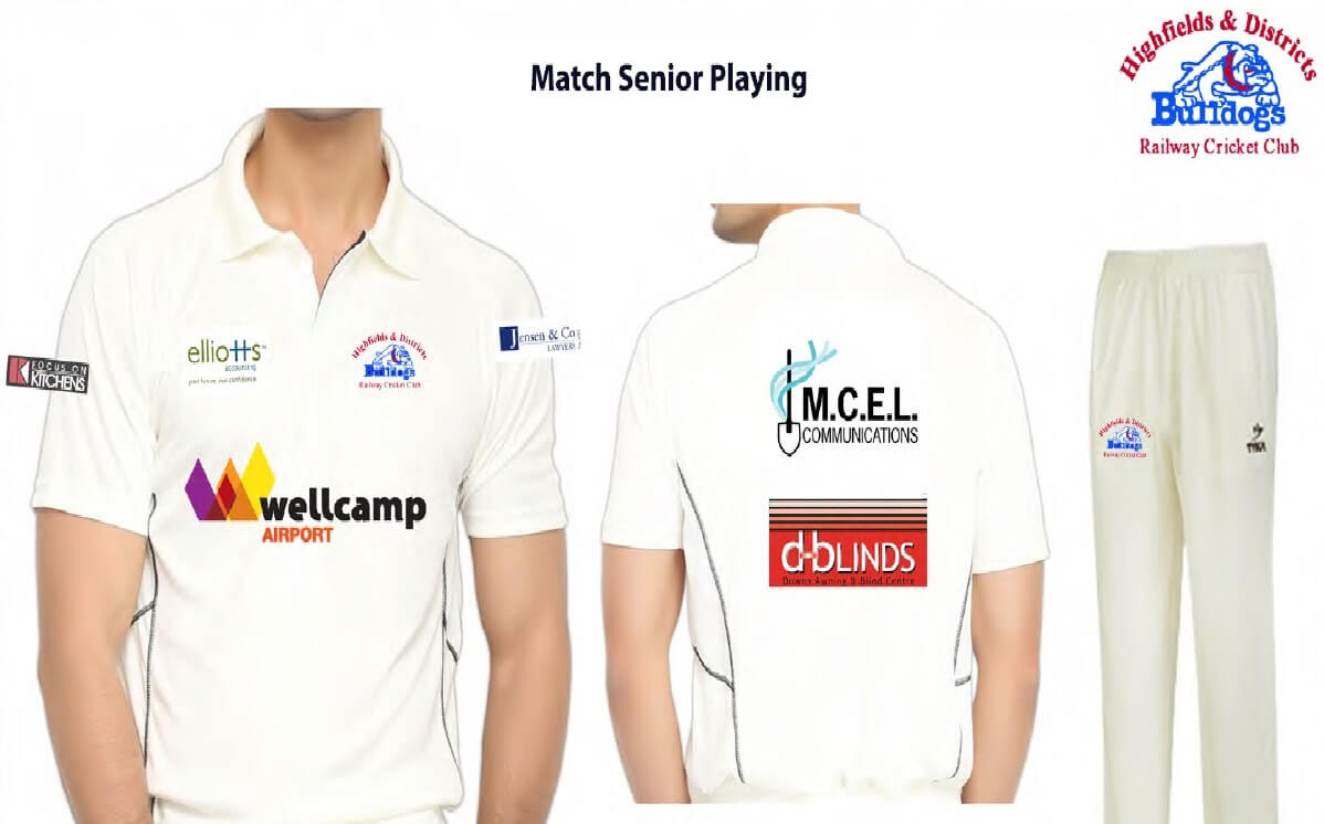 Highfields and Districts Railway Bulldogs Cricket Club senior playing shirts